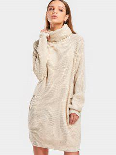 Long Turtleneck Raglan Sleeve Sweater - Beige