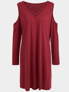 Kaltes Schulter Strappy Plus Size Tee Kleid - Rot 5xl