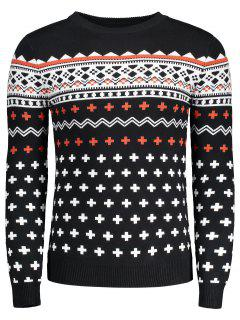 Crew Neck Mens Jacquard Sweater - Black 2xl