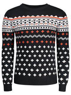 Crew Neck Mens Jacquard Sweater - Black Xl