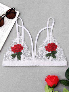 Strappy Floral Applique Lace Bra - White L