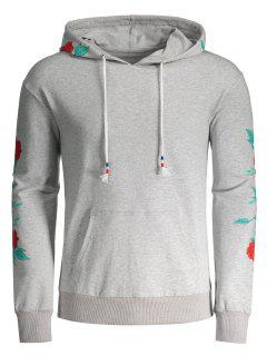 Pullover Floral Print Hoodie - Gray S
