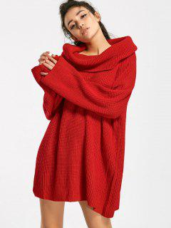 Cowl Neck Oversized Chunky Sweater - Red M