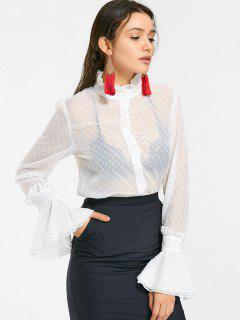 Ruffled Applique See Thru Chiffon Shirt - White S