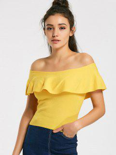 Overlap Knitted Off Shoulder Top - Yellow L