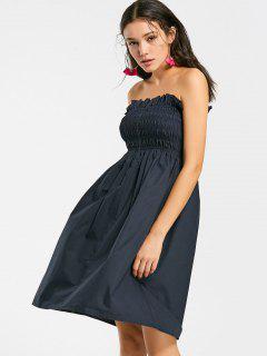 Ruffled Smocked Tube Dress - Purplish Blue S
