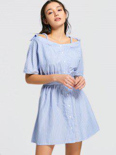 Button Up Stripes Cold Shoulder Mini Dress - Stripe M