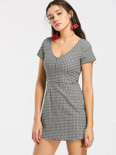 V Neck Checked A Line Mini Dress - Checked M
