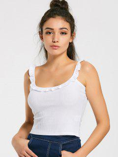 Camiseta De Punto Con Volantes - Blanco S