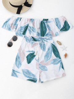 Leaf Print Off The Shoulder Cover-up Romper - Blanc M