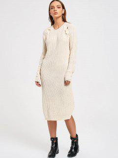 Side Slit Sweater Dress - Palomino