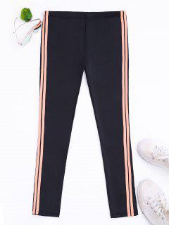 Side Stripe Yoga Leggings - Black M