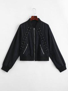 Zip Up Criss Cross Bomber Jacket - Black L