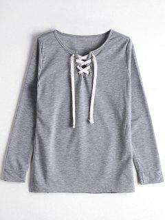 Long Sleeve Lace-up T-shirt - Gray M