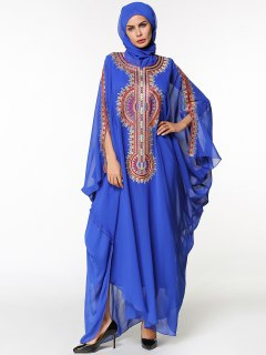 Chiffon Maxi Batwing Sleeve Flowy Arabic Dress - Blue