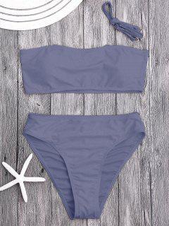 Gepolsterte High Cut Bandeau Bikini Set - Zerschlagen S