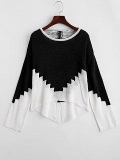 Ripped Two Tone Cut Out Sweater - Black