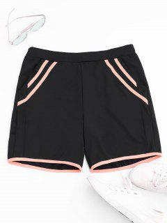 Stripe Workout Shorts - Black M