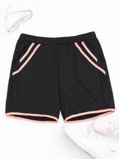 Stripe Workout Shorts - Black S