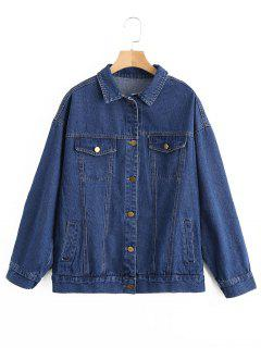 Faux Pockets Flower Embroidered Denim Jacket - Denim Blue