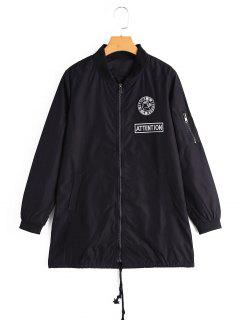 Zip Up Badge Patched Coat With Pockets - Black M
