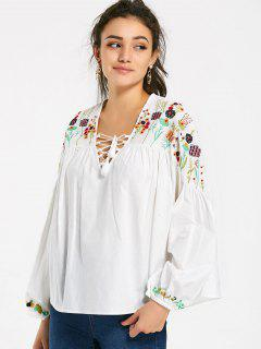 Embroidered Lantern Sleeve Lace Up Blouse - White L