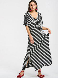 Casual Stripes Slit Maxi Dress - Rayure S