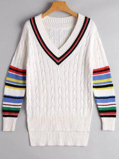 Colorful Stripe Cable Knit Sweater - White L