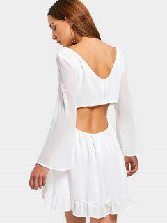 Criss Cross Cut Out Chiffon Dress - White M