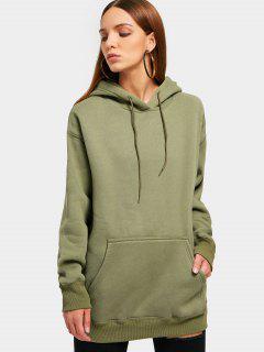 Kangaroo Pocket Loose Fit Flock Hoodie - Army Green S