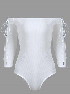 Off The Shoulder Lace Up Bodysuit - Blanc L