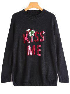 Sequin Kiss Me Graphic Sweater - Black