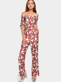Off The Shoulder Floral Print Jumpsuit - Brick-red S