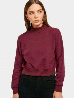 High Neck Cropped Sweatshirt - Wine Red M