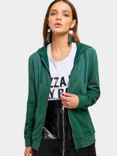 Long Sleeve Full Zip Hoodie - Green M