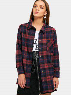 Plaid Button Down Flannel Shirt - Deep Red S