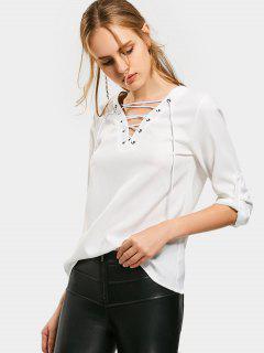 Lace Up Langarm Uni Bluse - Weiß S