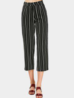 High Waist Striped Capri Pants - Black L