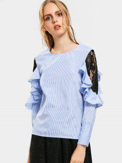 Lace Panel Ruffled Striped Blouse - Light Blue L