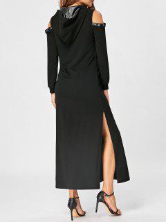 Cold Shoulder High Slit Maxi Hoodie Dress - Black 2xl