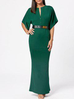 Raglan Sleeve V Neck Bodycon Maxi Dress - Army Green S