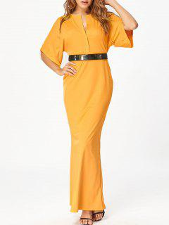 Raglan Sleeve V Neck Bodycon Maxi Dress - Yellow 2xl
