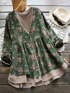 Plunging Neck Button Up Tiny Floral Blouse - Green
