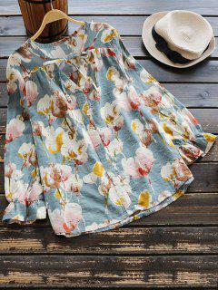 Floral Print Bow Tie Blouse - Floral