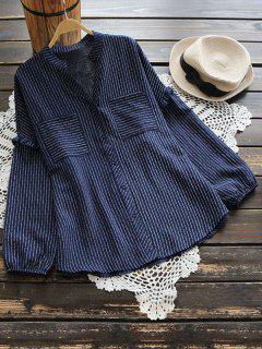 V-Ausschnitt Ruffle Hem Striped Pocket Bluse - Cerulean