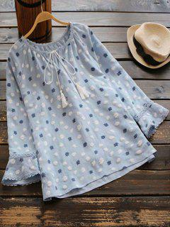 Snowflake Bow Tie Blouse - Cloudy