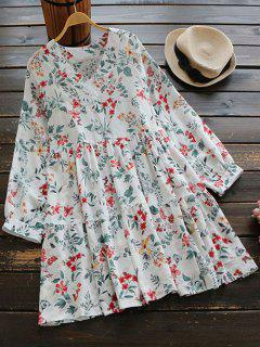 V Neck Flower Print Mini Dress - White