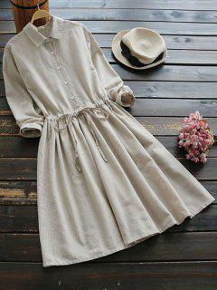 Drawstring Waist Striped Shirt Dress - Palomino M