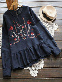 Floral Embroidered Cut Out Blouse - Purplish Blue