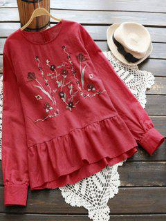 Floral Embroidered Cut Out Blouse - Red